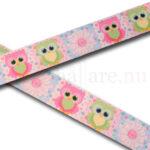 Band 22 mm med ugglor i rosa (cerise) och ljusgrönt