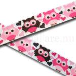 Band 22 mm med ugglor i olika nyanser av rosa med hjärtan
