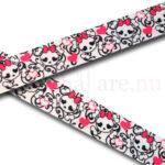 Band 22 mm med dödskallar med rosa rosetter