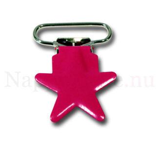 Clips stjärna cerise/rosa till napphållare/nappband.