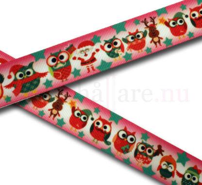 Band 25 mm, rosa med julugglor, tomte, ren
