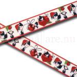 Band 22 mm, mörk röd med julkatt, julmössa och paket