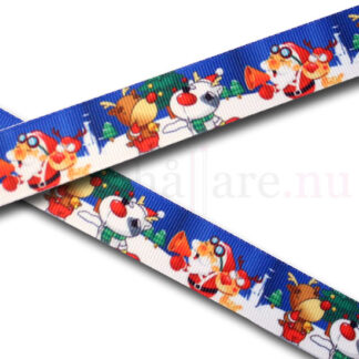 Band 22 mm, med Tomten, renen Rudolf och en hund i snön