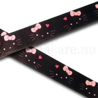 Band med svart katt, 22 mm till napphållare/nappband.