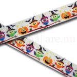Halloweenugglor 22 mm, vittt band med halloweentema: ugglor, pumpor och fladdermöss till napphållare/nappband.