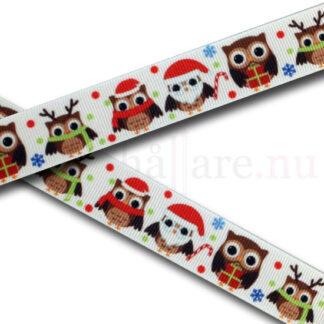 Band med julugglor, 22 mm till napphållare/nappband.