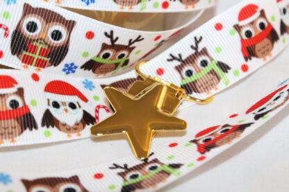 Band med julugglor, 22 mm, och guldstjärna, 22 mm till napphållare/nappband.