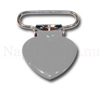 Clips hjärta grå till napphållare/nappband.