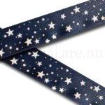 Dekorband 25 mm i marint tema med vita stjärnor