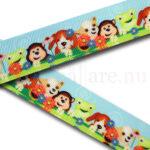 Dekorband 25 mm, djurvänner i gräset - hundar, groda